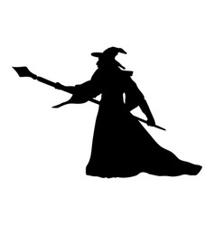 Magician wizard character silhouette fantasy vector