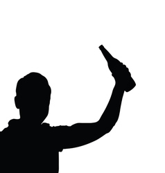 man with bottle black vector image