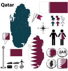 Map qatar vector