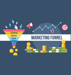 marketing funnel vector image