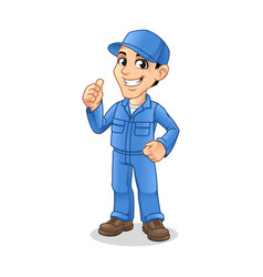 mechanic man with thumbs up hand gesture sign vector image