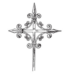 Medieval steeple cross vintage vector