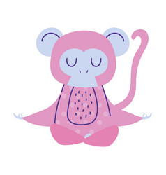 Monkey meditating animal cartoon doodle color vector
