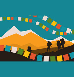 mountains and praying flags silhouettes vector image