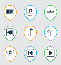 Music icons set with rewind music back computer vector