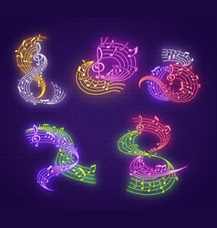 musical note neon signboard for music club party vector image