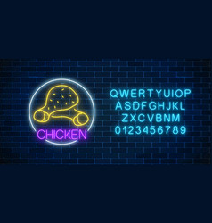 Neon glowing sign of chicken legs in circle frame vector