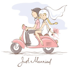 Newlyweds on a scooter vector