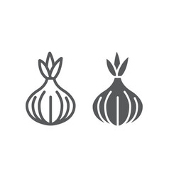 onion line and glyph icon vegetable vector image