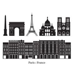 paris france building landmarks silhouette vector image