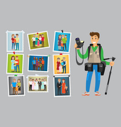 photographer with digital camera taking photo vector image