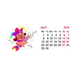 Pig clown calendar april 2019 year fools day vector