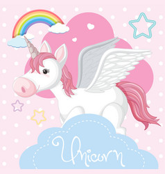 Poster design with unicorn and pink cloud vector