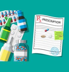 prescription rx pills capsules for illness vector image