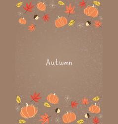 Pumpkin leaves nut and flower flat frame vector