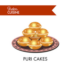 Puri cakes on plate with ornament isolated vector