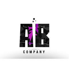 Purple black alphabet letter ab a b logo vector