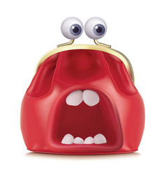 purse with mouth and eyes 3d vector image