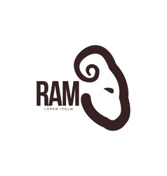 Ram sheep lamb head profile graphic logo vector