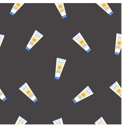 Seamless pattern with sunscreen creams on black vector