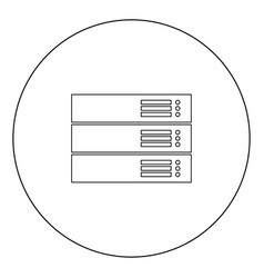 server black icon in circle isolated vector image