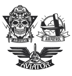 set aircraft emblems labels badges logos vector image