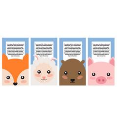 set animals portraits color vector image