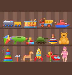 Set colorful kids children toys cartoon on shelf vector
