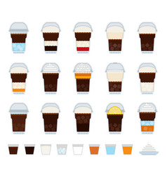 set ice coffee drink icons flat vector image