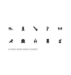 set of 10 editable family icons includes symbols vector image