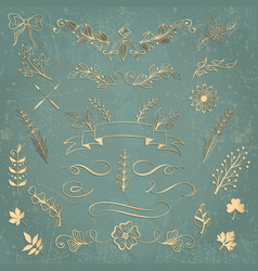 Set of floral elements hand drawn design elements vector