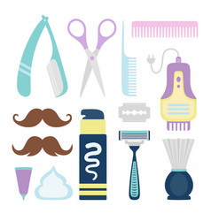 set of tools barber for care hair and mustache vector image