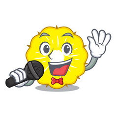 singing pineapple slice fruit isolated on cartoon vector image