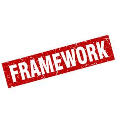 Square grunge red framework stamp vector