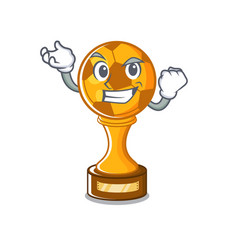 Successful soccer trophy with mascot shape vector