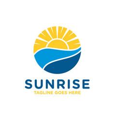 Sunrise at sea view logo vector
