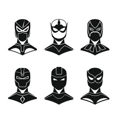 Superhero concept set in black simple style vector