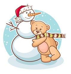 Teddy and snowman vector