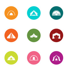 Tent camp icons set flat style vector