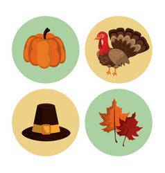 thanksgiving round icons set vector image