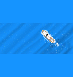 The yacht floats top view vector