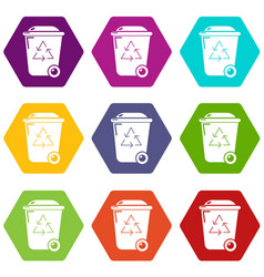 trash wheelie bin icons set 9 vector image