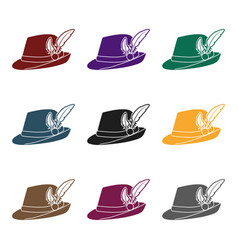 tyrolean hat icon in black style isolated on white vector image