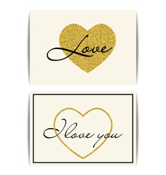 Valentine template with gold glitter heart I love vector image