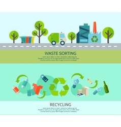 Waste Sorting Banners Set vector
