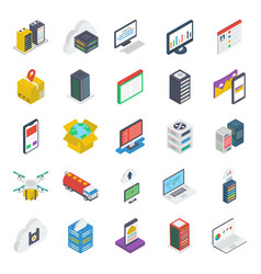 web layout isometric icons pack vector image