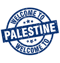 Welcome to palestine blue stamp vector