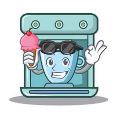 With ice cream coffee maker character cartoon vector