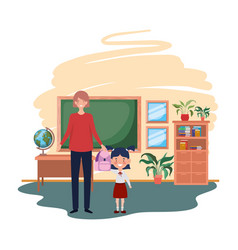 Woman with daughter back to school vector