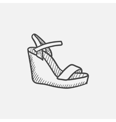 Women platform sandal sketch icon vector image